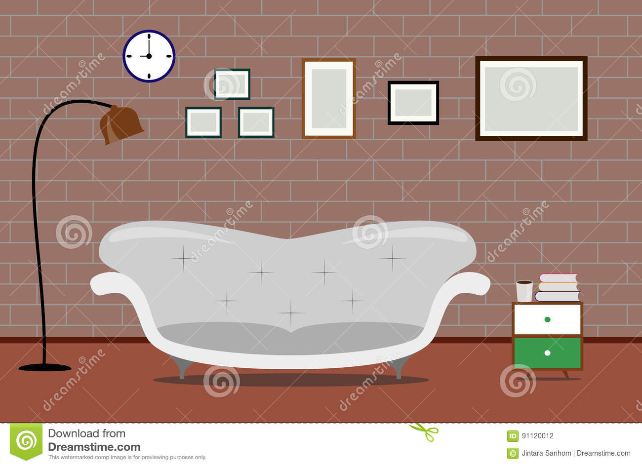 Vector interior design illustration living modern sofa