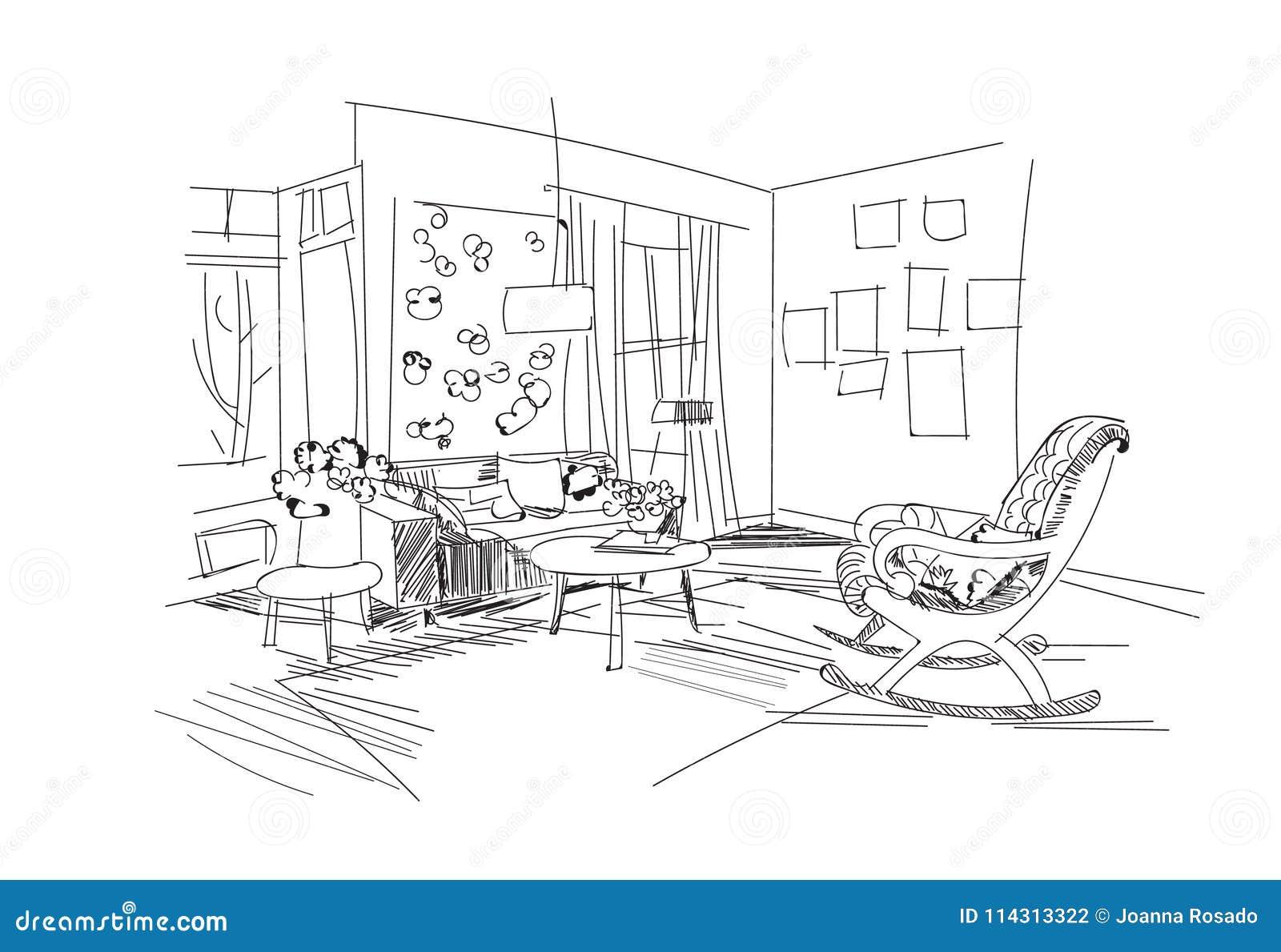 Download Vector Interior Design Illustrationliving Room Furniture Hand Drawn Watercolor Sketch Mid