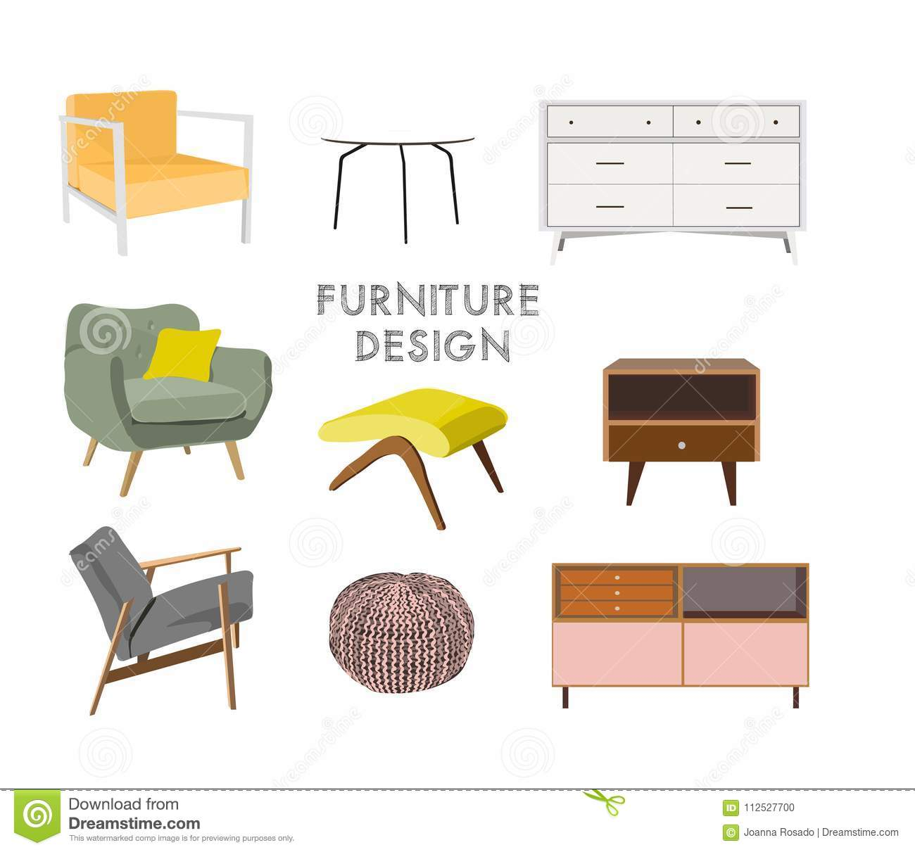 Home Decor Mood Board Furniture Elements Collection Living