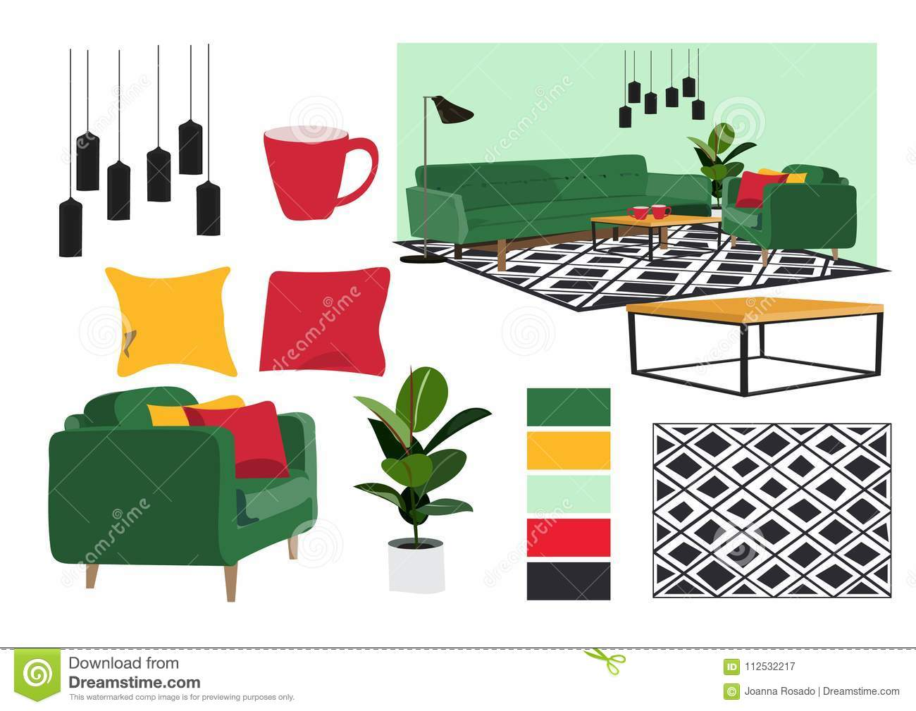 Home Decor Mood Board Furniture Elements Collection Living Room