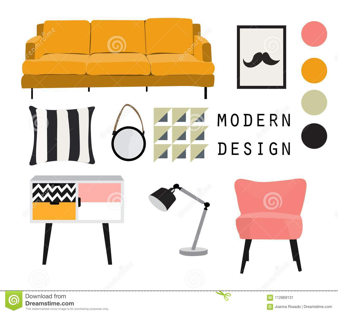 Image of: Vector Interior Design Mood Board Illustration Living Room Furniture Stock Vector Illustration Of Chair Decor 112869131