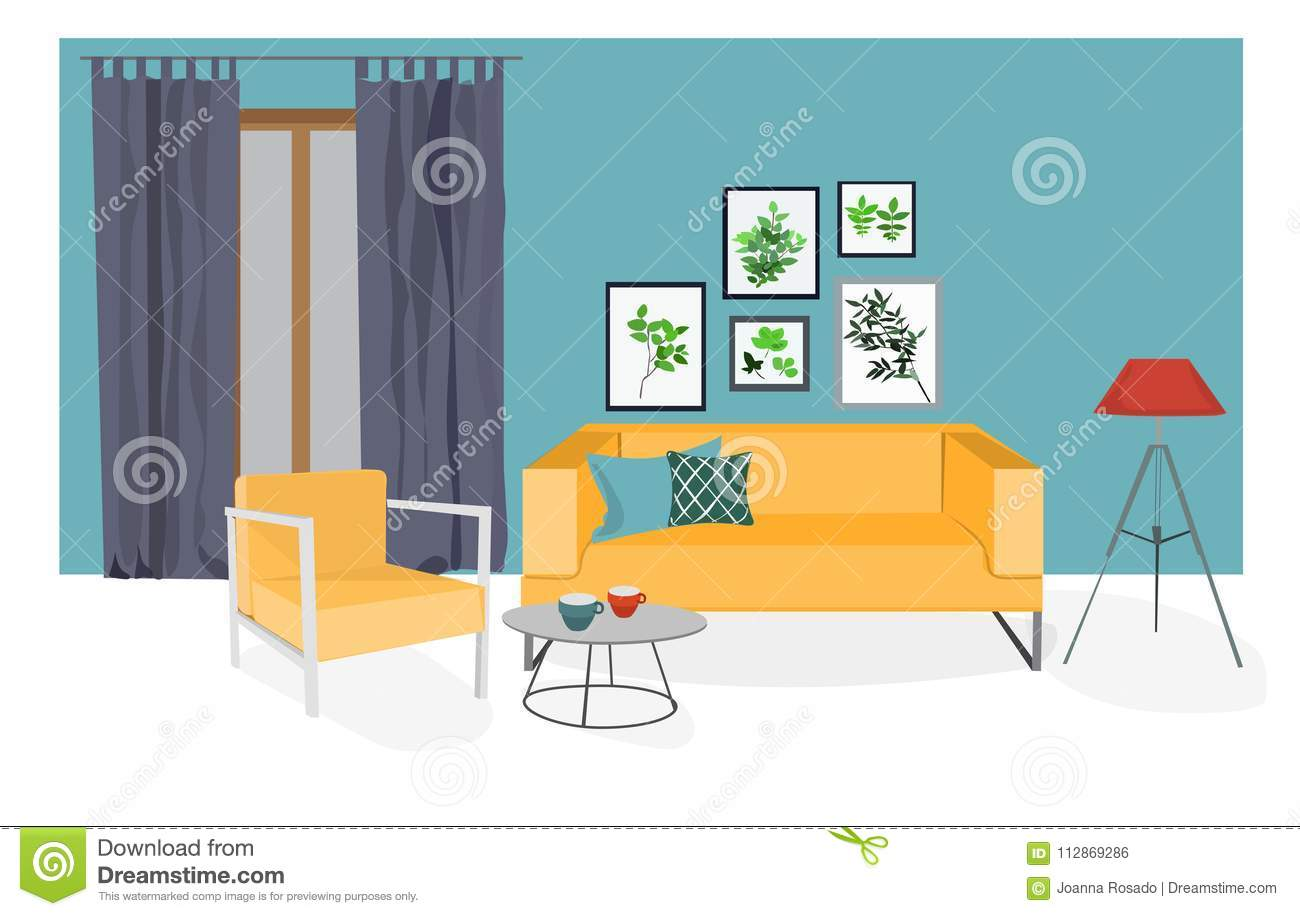 Image of: Vector Interior Design Mood Board Illustration Living Room Furniture Stock Vector Illustration Of Curtain Decor 112869286