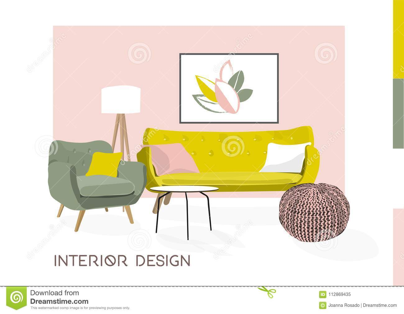 Image of: Vector Interior Design Sketch Illustration Living Room Furniture Mid Century Modern Stock Vector Illustration Of Designer Armchair 112869435