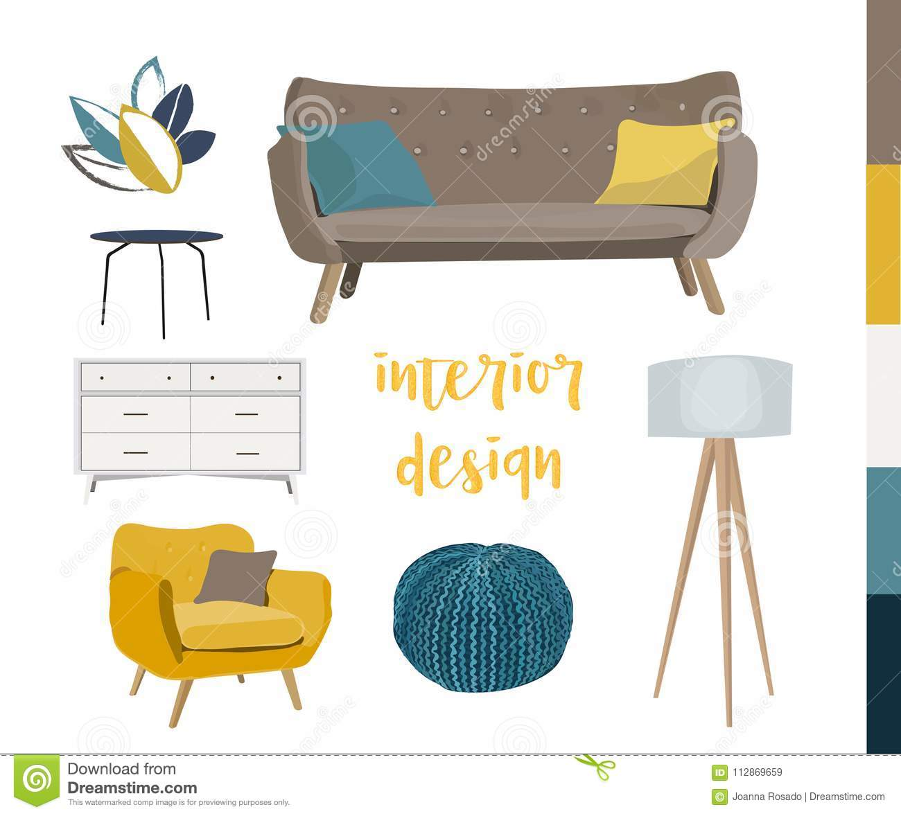Image of: Vector Interior Design Sketch Illustration Living Room Furniture Mid Century Modern Stock Vector Illustration Of Knitted Concept 112869659
