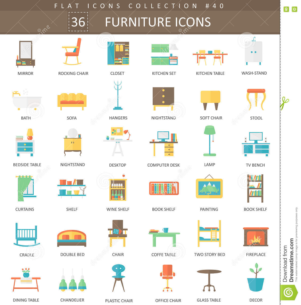 Vector Furniture Flat Line Icon Set. Modern Elegant Style
