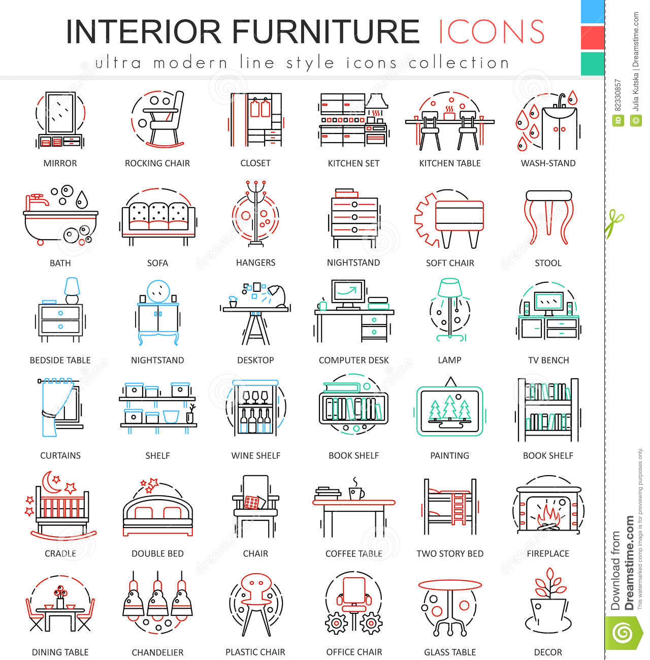 Vector interior furniture color line outline icons for for Interior design web app