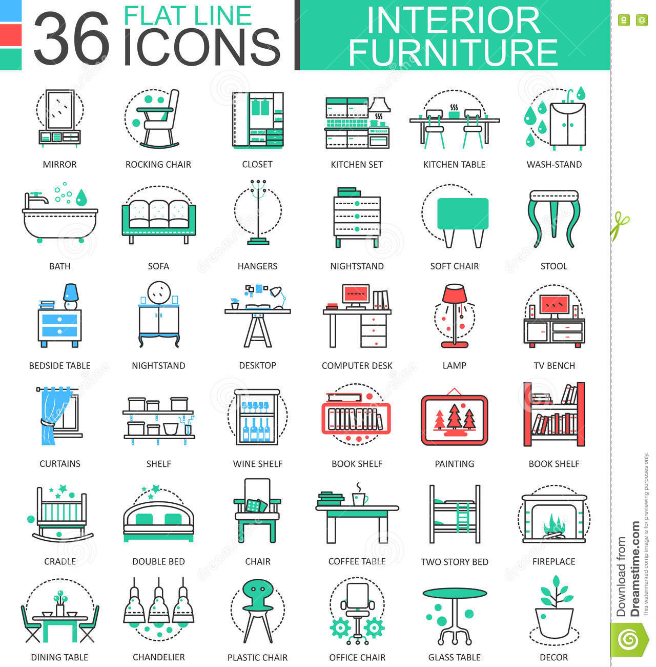 Vector interior furniture flat line outline icons for apps for Interior design web app