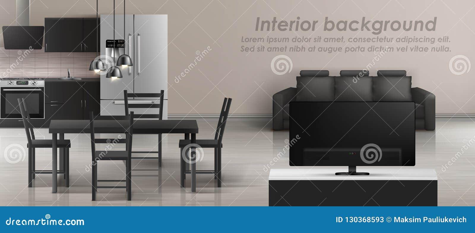 Fine Vector Interior Mockup Of Studio Apartment Stock Vector Beatyapartments Chair Design Images Beatyapartmentscom
