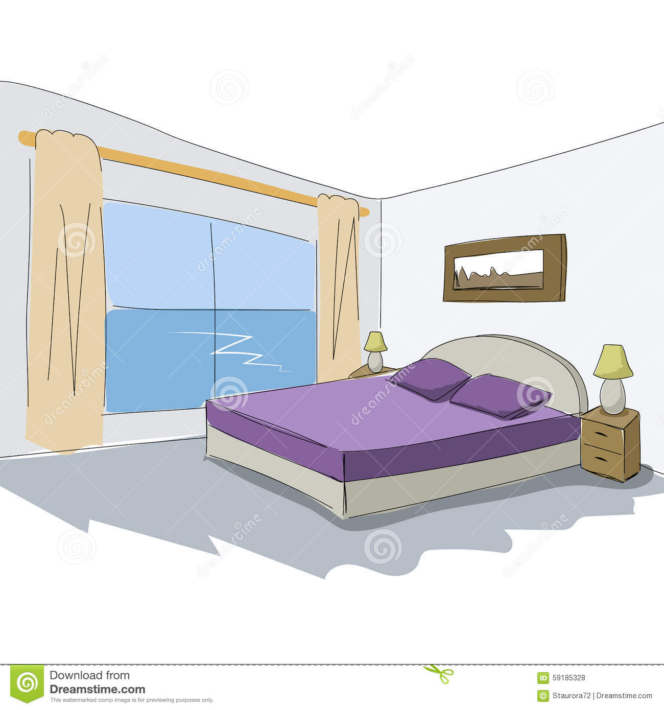 Vector interior sketch design of bedroom stock vector for Interior design images vector