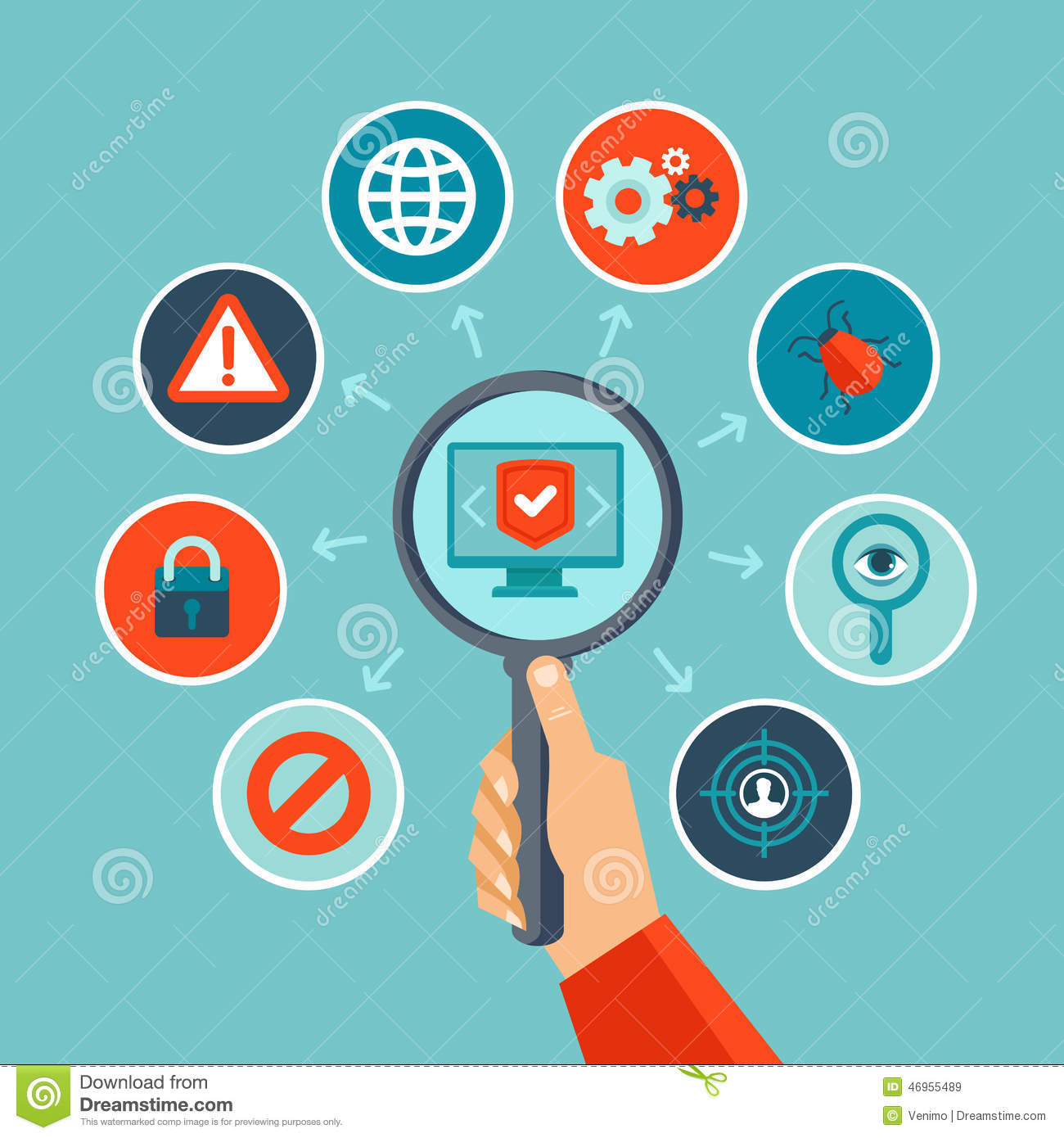 Vector Internet Security Concept In Flat Style Stock Vector - Image ...