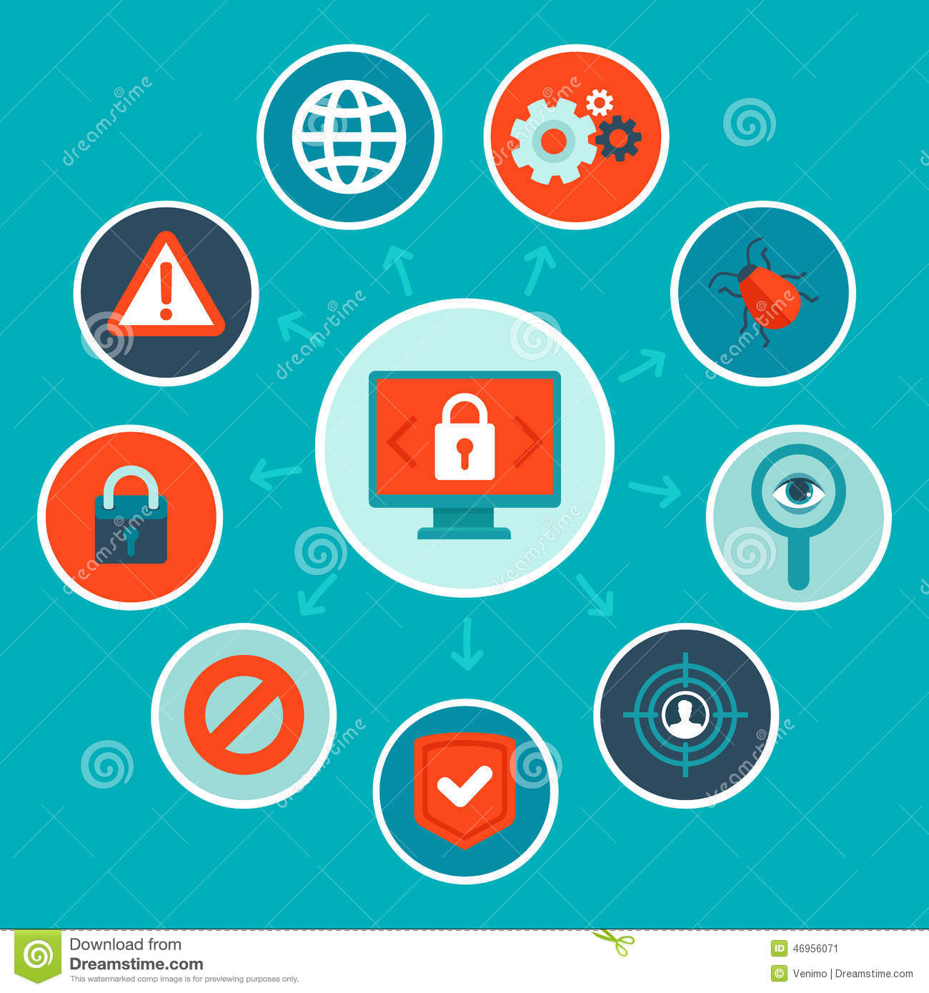 Vector Internet Security Concept In Flat Style Stock ...