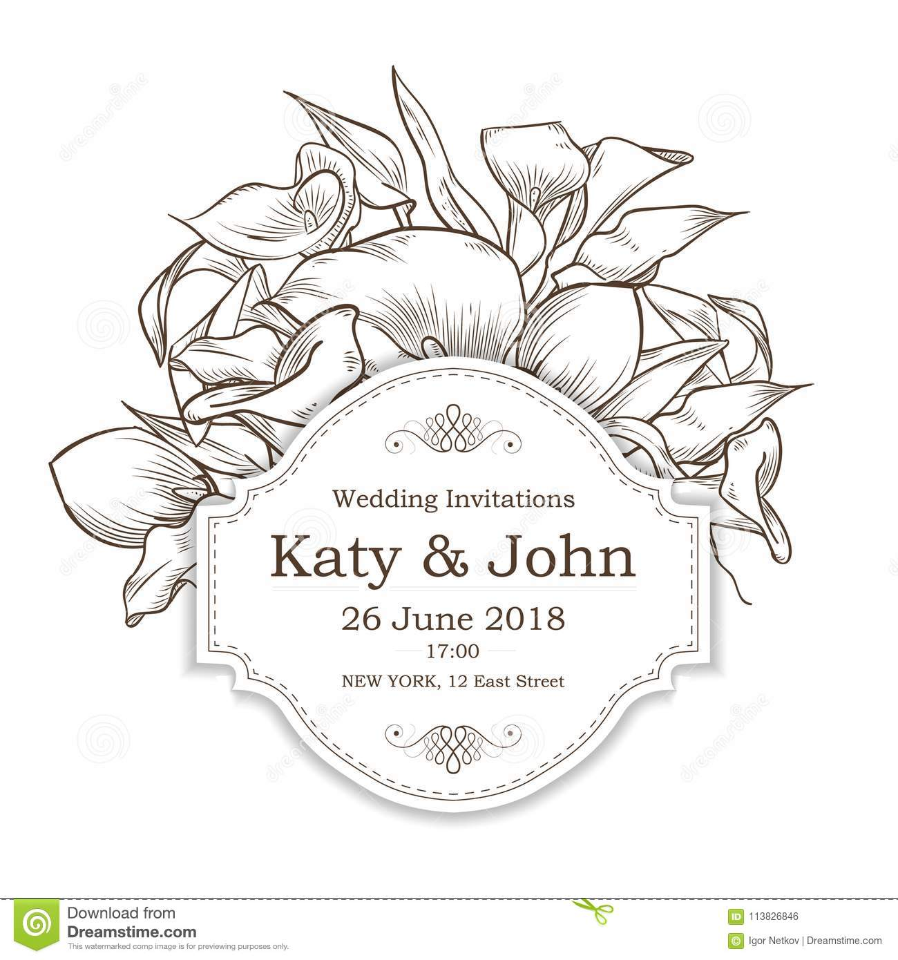 Vector invitation with callas flowers stock vector illustration of vector invitation with callas flowers for wedding marriage bridal birthday izmirmasajfo