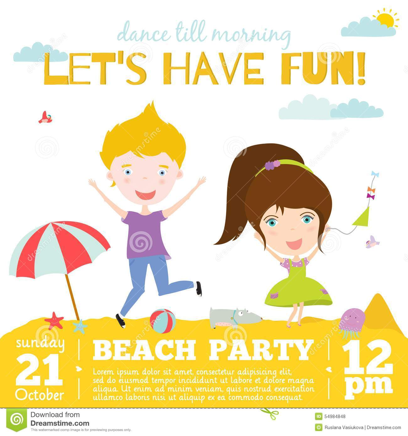 Vector Invitation Card On Summer Beach Party With Stock Vector ...