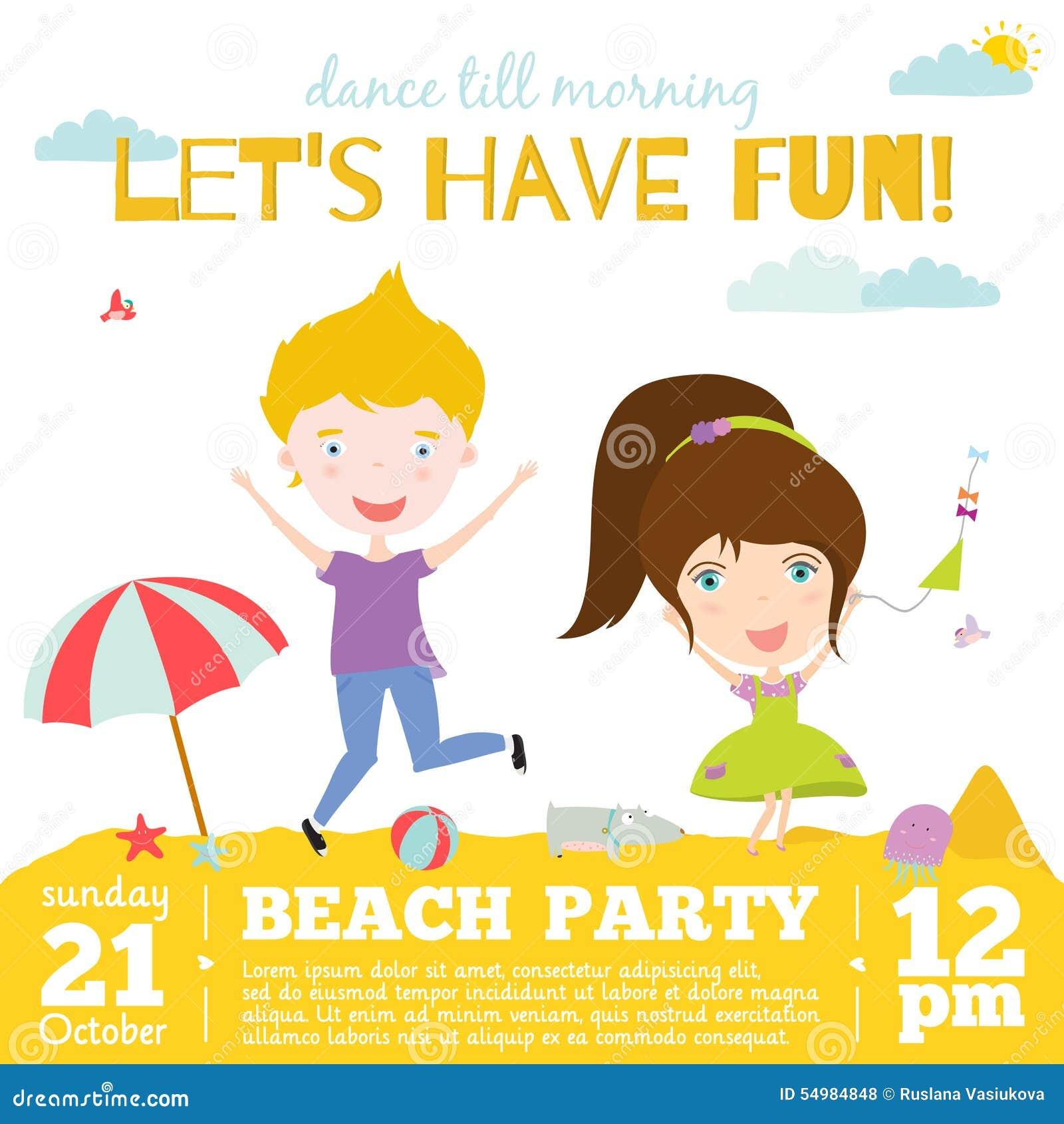 Beach Theme Card Stock: Vector Invitation Card On Summer Beach Party With Stock