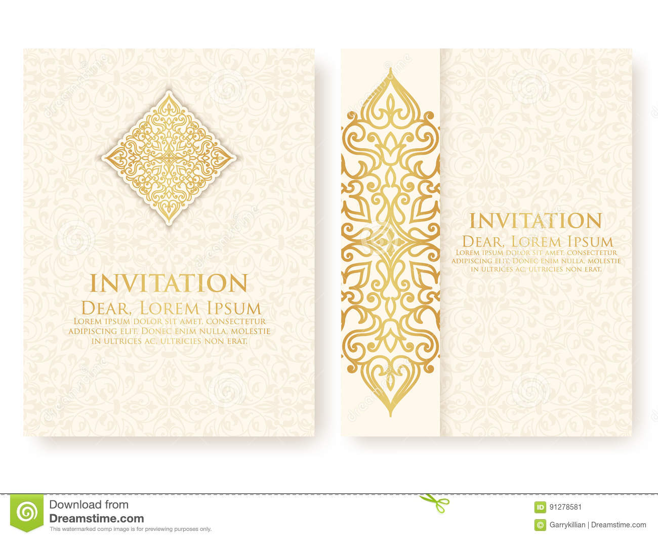 Vector invitation cards with ethnic arabesque elements arabesque royalty free vector download vector invitation stopboris Choice Image