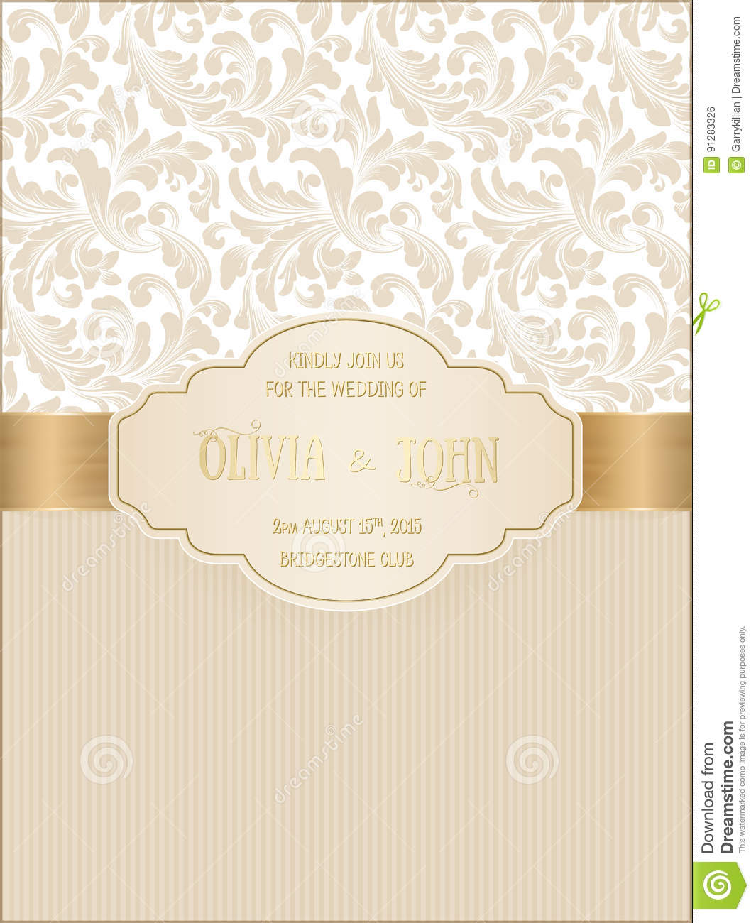 Vector invitation, cards or wedding card with damask background and elegant floral elements.