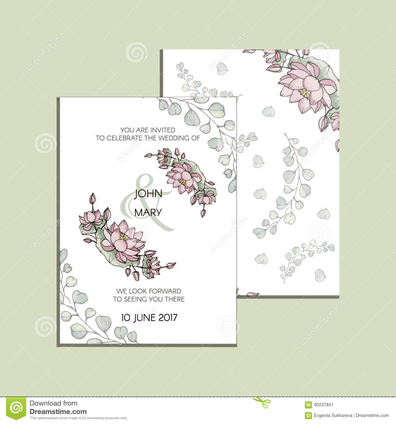 Vector Invitation With Flowers Of Lotus Modern Wedding Collection