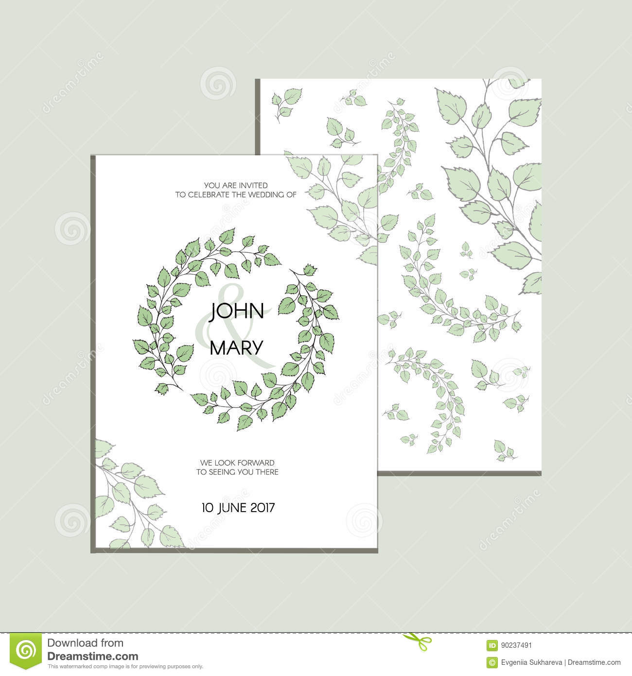 Vector Invitation With Green Leaves . Modern Wedding Collection ...