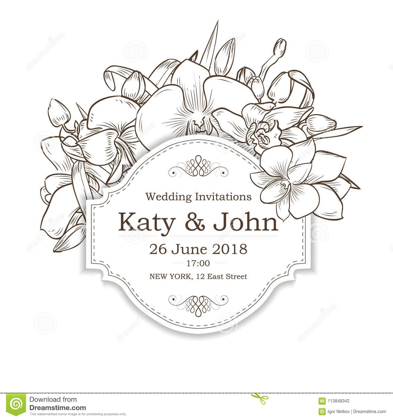 Vector invitation with orchid flowers for wedding stock vector vector invitation with orchid flowers for wedding marriage bridal birthday izmirmasajfo