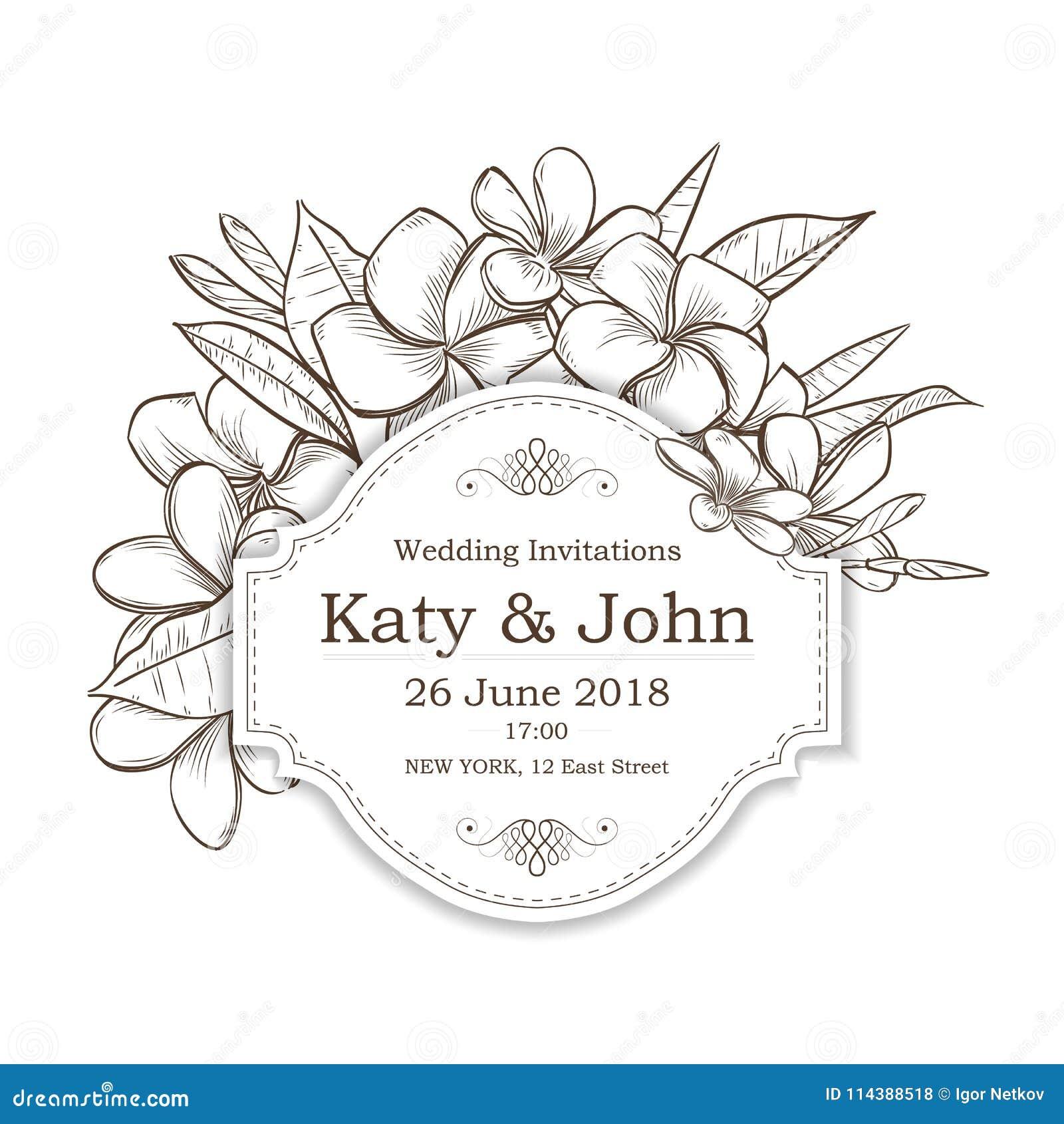 Vector Invitation With Plumeria Flowers Stock Vector Illustration