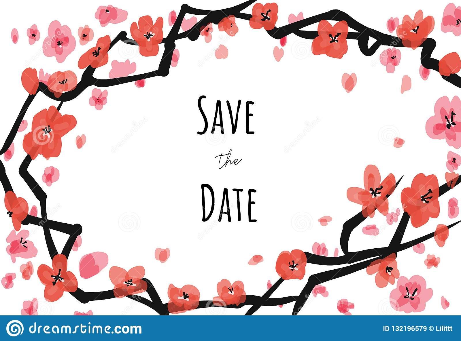 Vector invite card sacura on white background with Save the date caption. For weddings, greetings, invitations