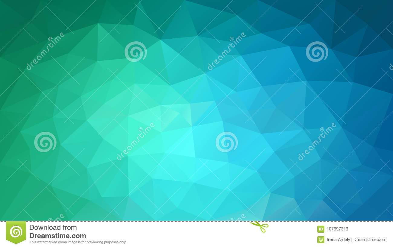 Vector irregular polygonal background - triangle low poly pattern - green, cyan and blue color gradient