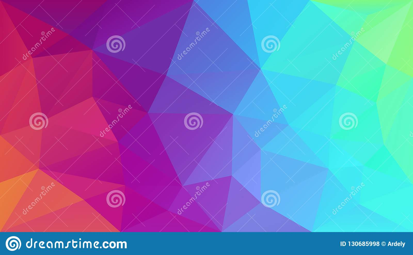 Vector irregular polygonal background - triangle low poly pattern - neon full color spectrum rainbow - holographic gradie