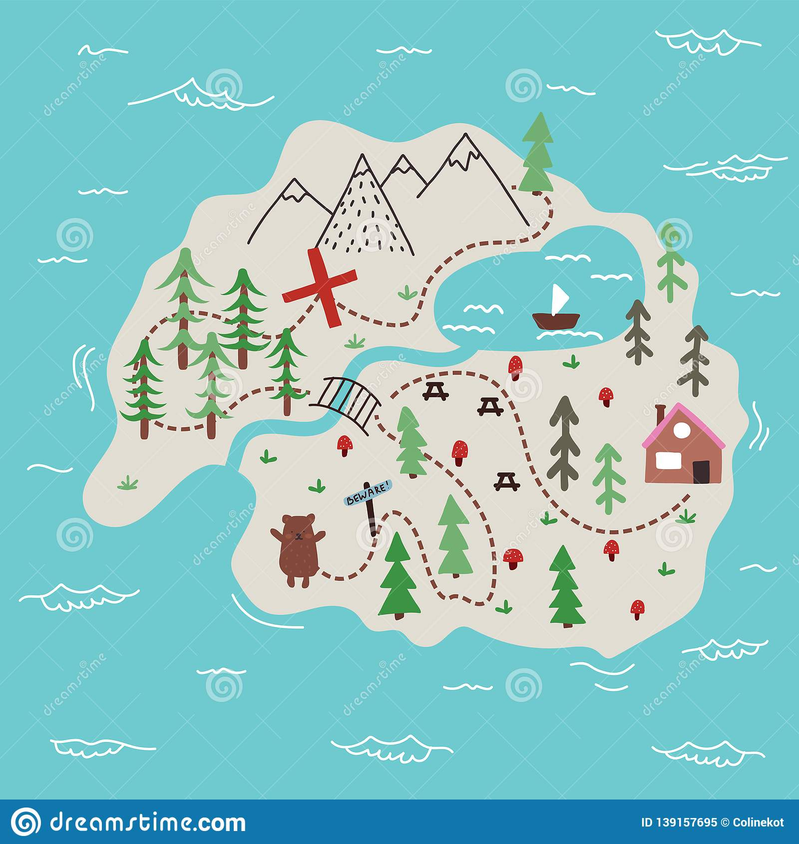 Map Of An Island Vector Island Map Doodle Illustration Stock Vector   Illustration