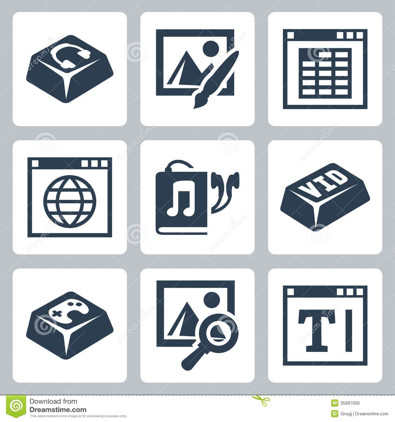 Vector isolated applications icons set royalty free stock Online vector editor
