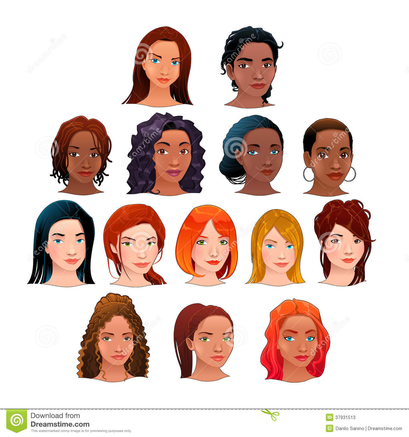 Crowd Of Indian Women Vector Avatars Stock Vector: Vector Isolated Avatars. Stock Photos