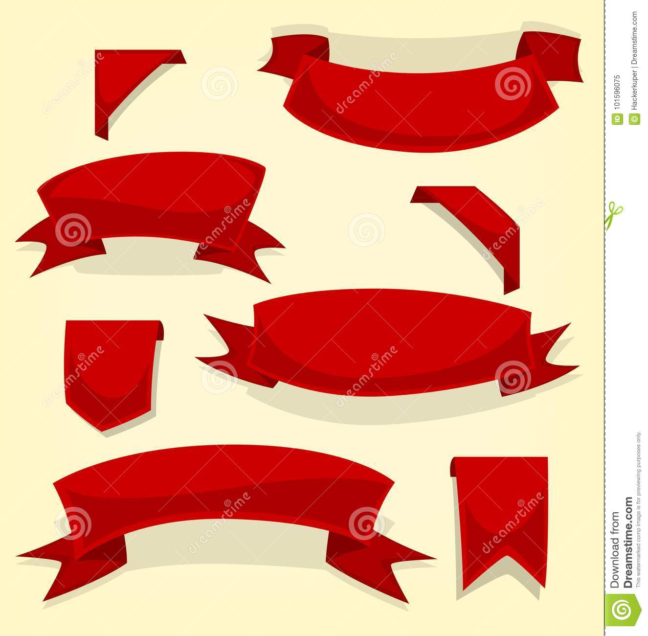 vector isolated cartoon red fun casual ribbon and bookmark template