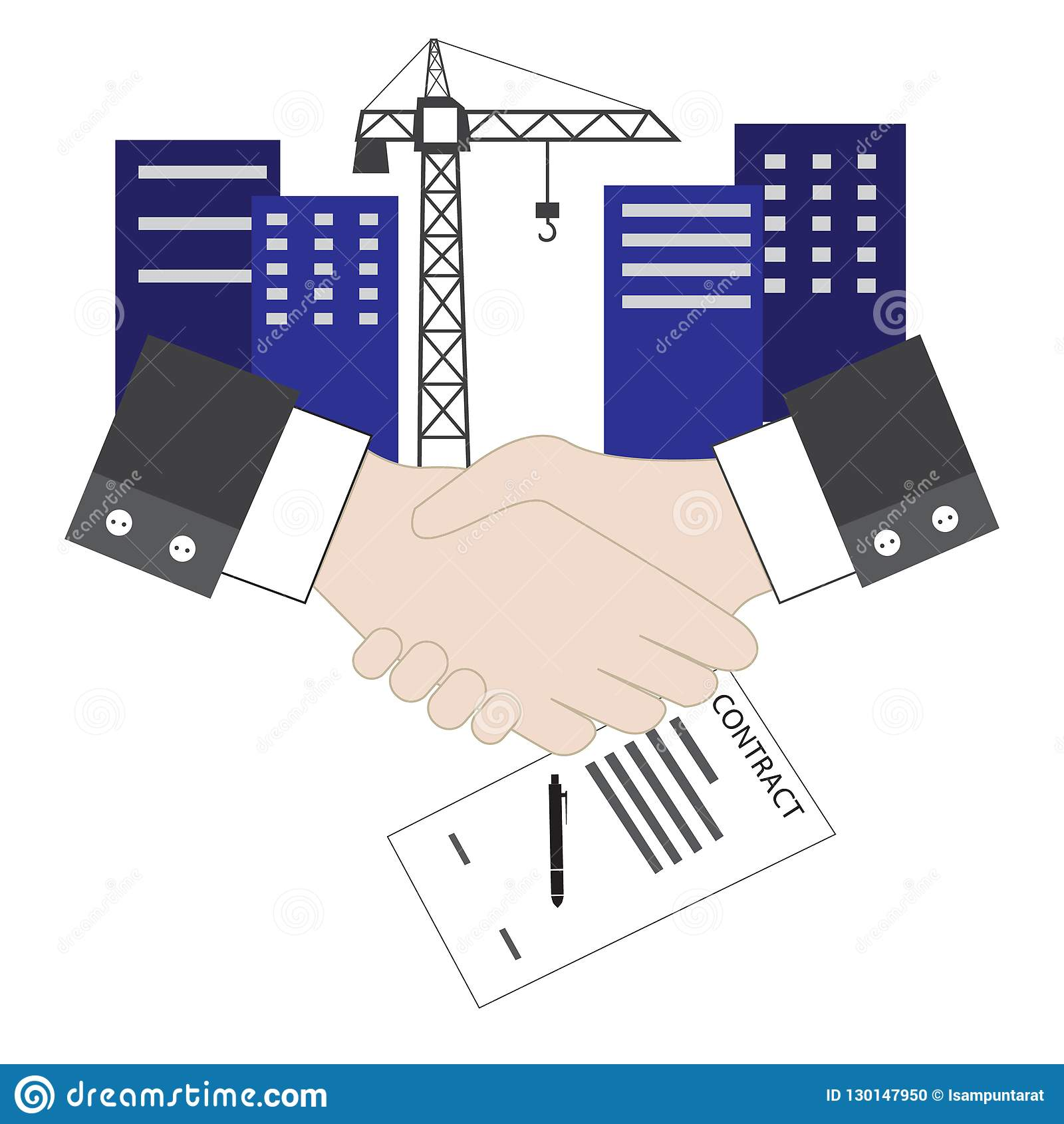 vector of isolated handshake contract agreement sign for construction  project
