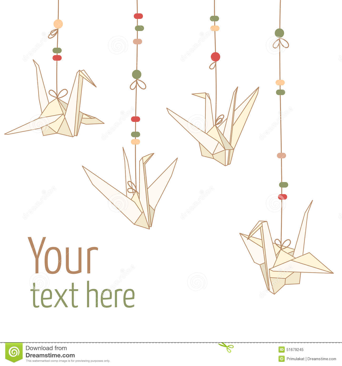 Download Vector Isolated Of Hanging Origami Paper Cranes Stock