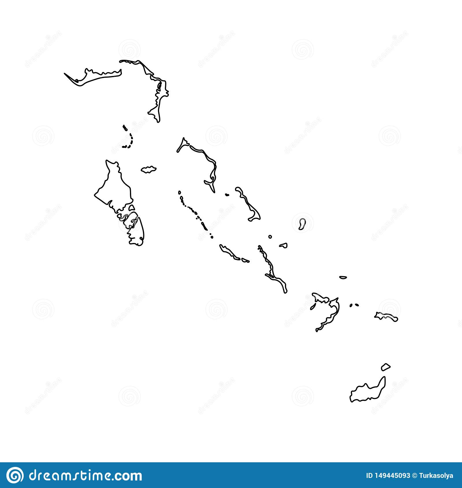 Vector isolated illustration icon with black line silhouette of simplified map of Bahamas