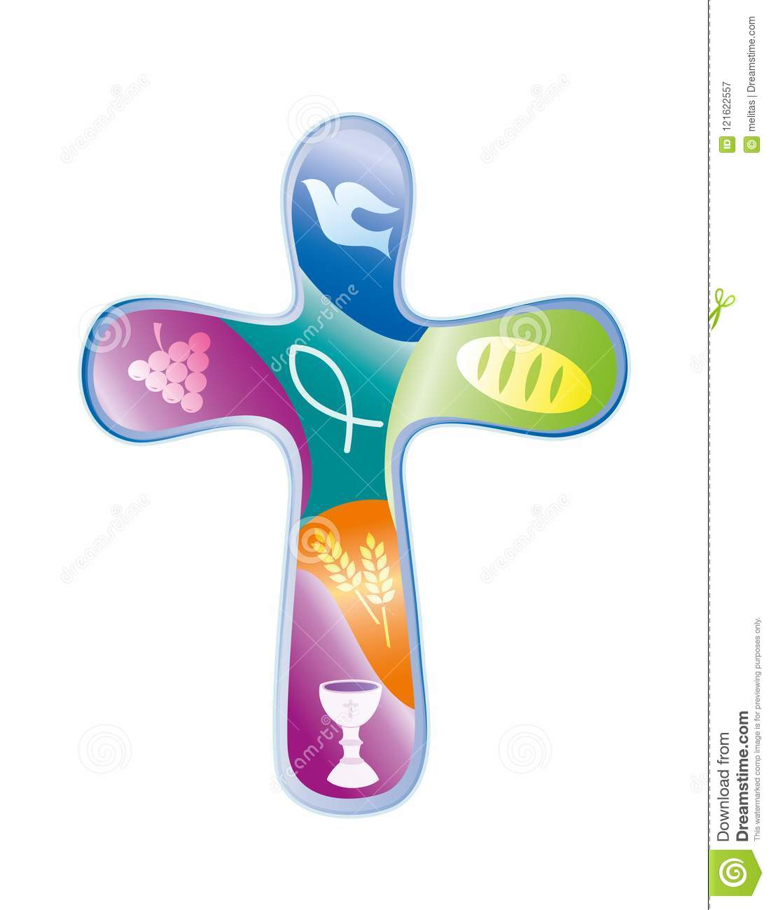 Colored Cross With Christian Symbols Religious Sign Stock