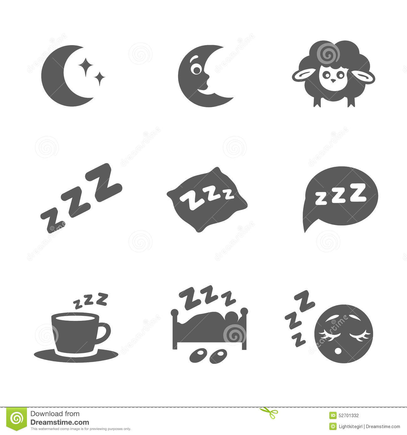 Vector Isolated Sleep Icons Set Stock Vector