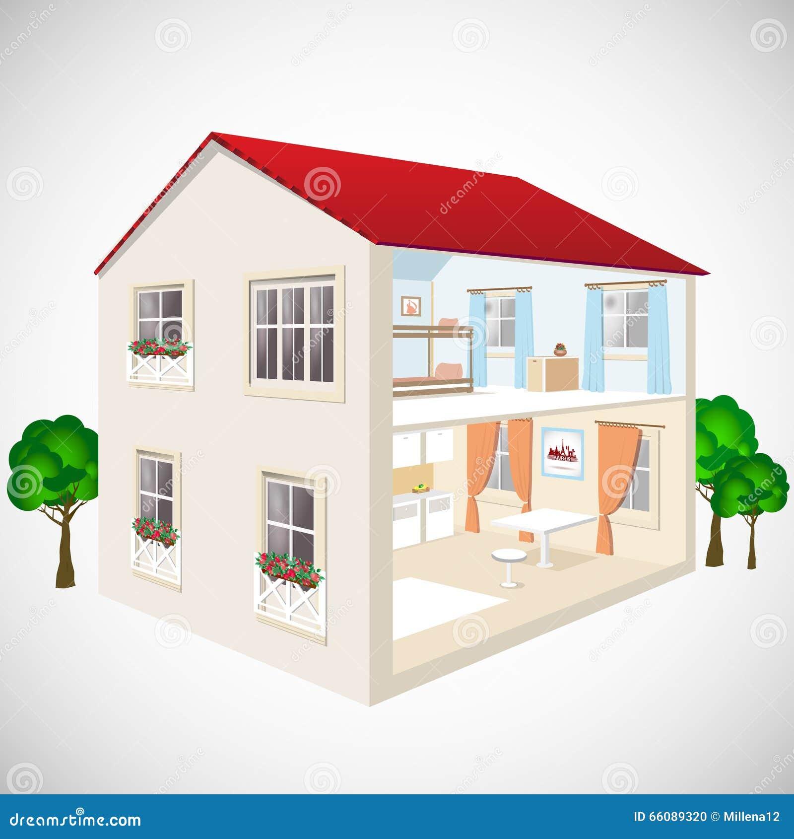 Vector isométrico constructivo del concepto del web plano 3d Cuartos isometry exteriores e interiores Casa en corte
