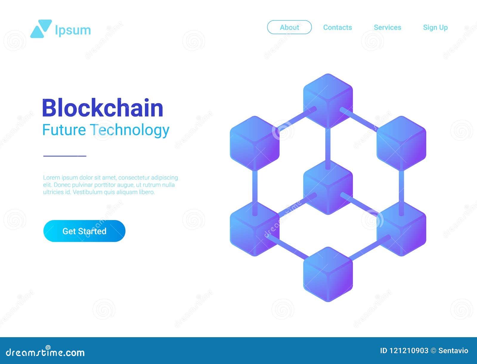 Vector isométrico de la tecnología de Blockchain Bloque chai