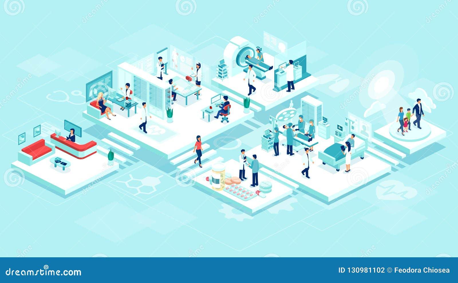 Vector isométrico de un cuidado el hospitalizado del hospital de la clínica médica con los cuartos, los pacientes, los doctores y