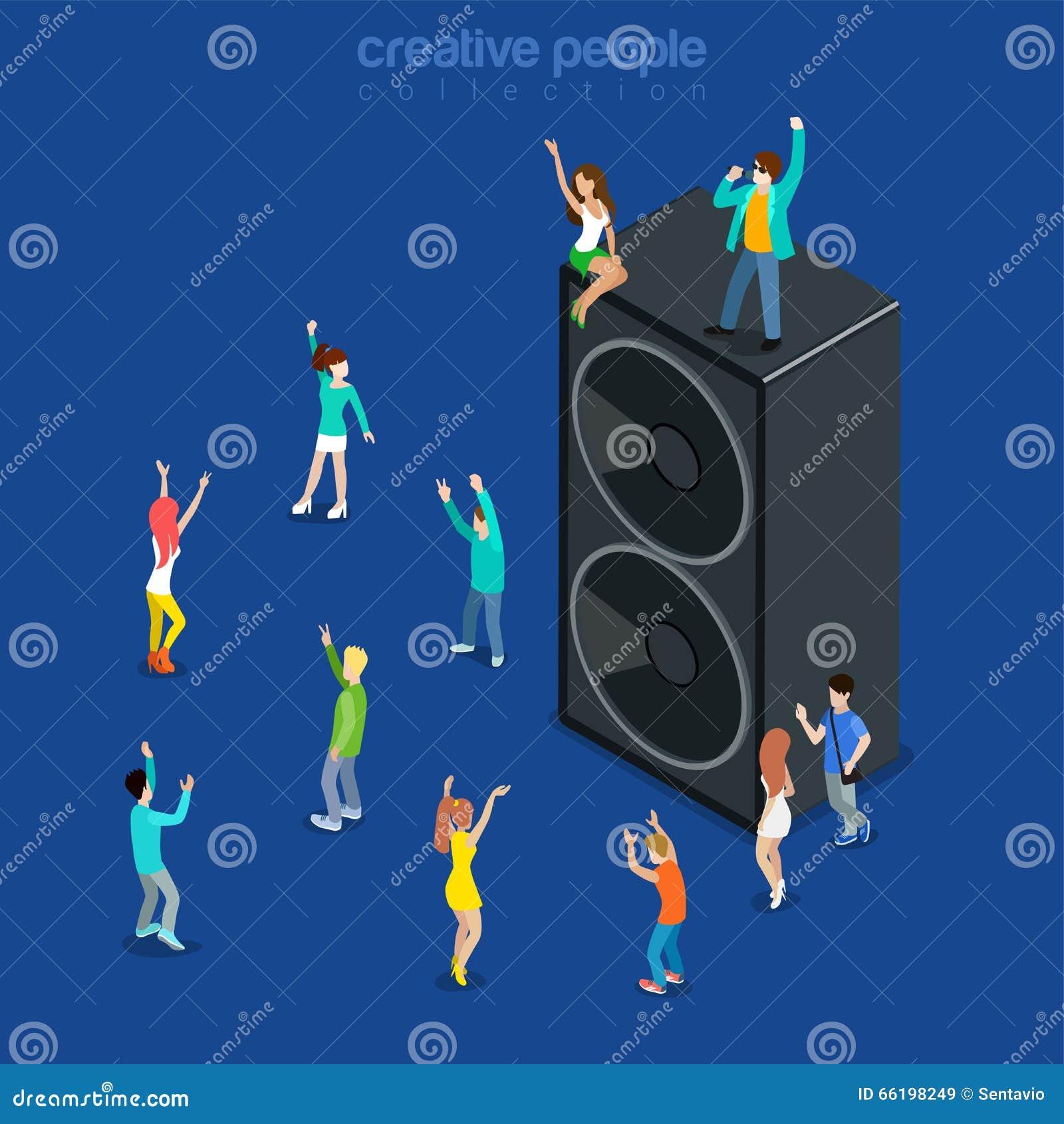 Vector isométrico plano 3d del altavoz del baile de la demostración de la música del tiempo del partido