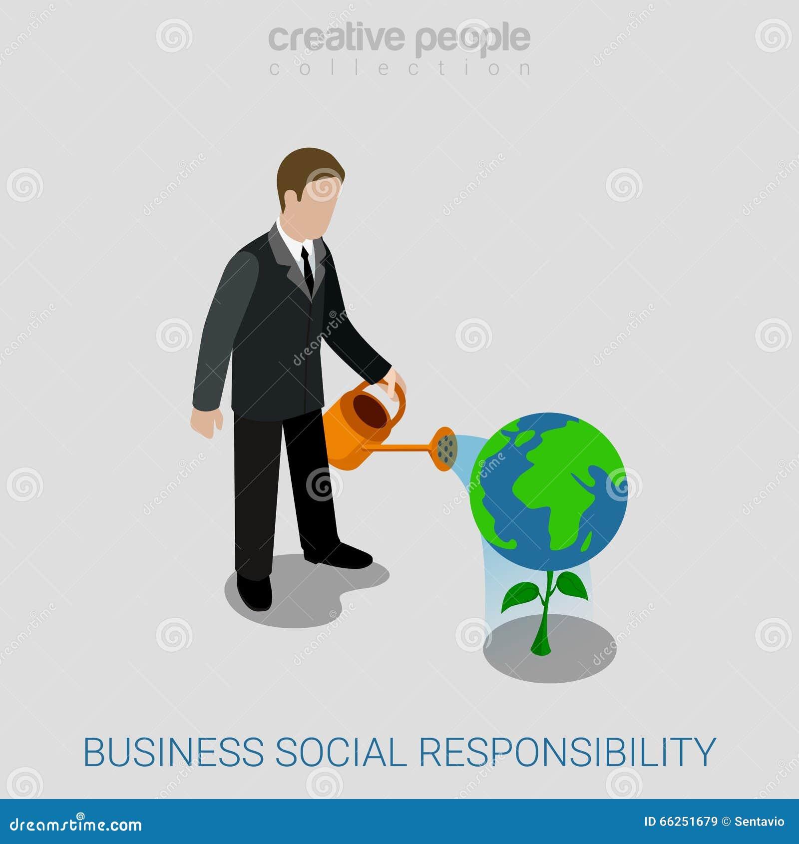 Vector isométrico plano de la responsabilidad social del negocio corporativo