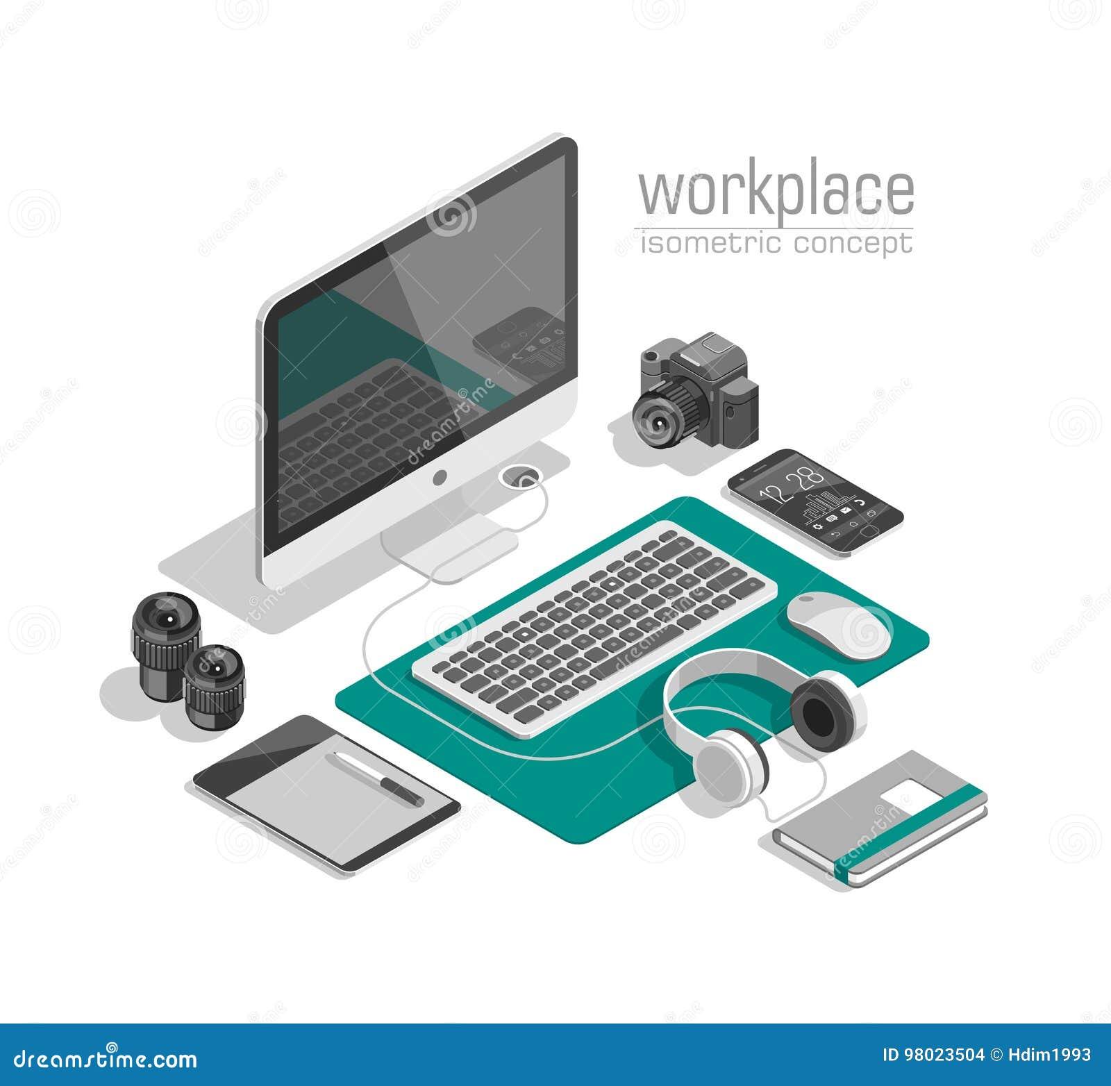 Vector isométrico plano del concepto del espacio de trabajo del diseñador de la tecnología 3d Ordenador portátil, teléfono elegan