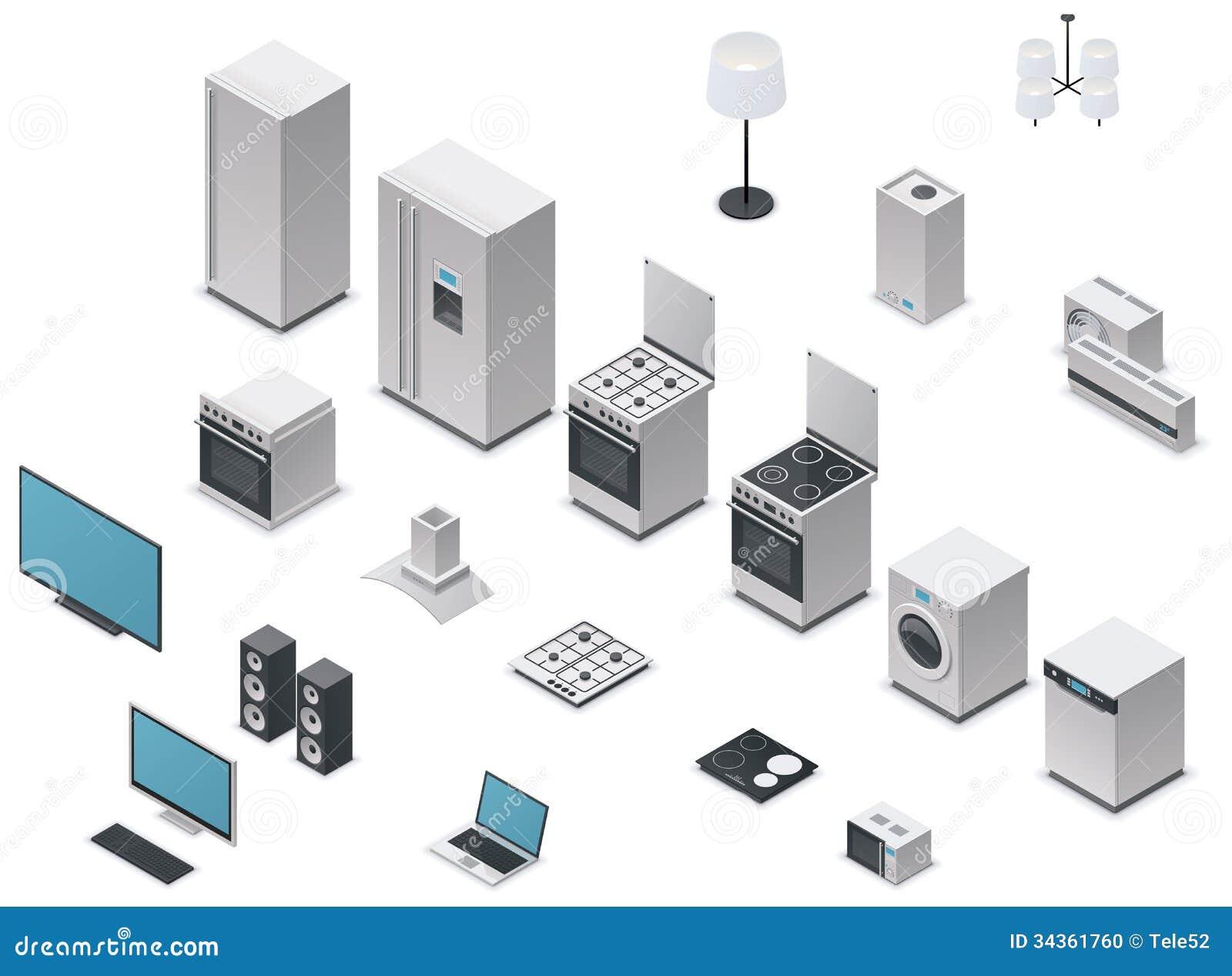 Vector Isometric Appliances Set Stock Photo Image 34361760