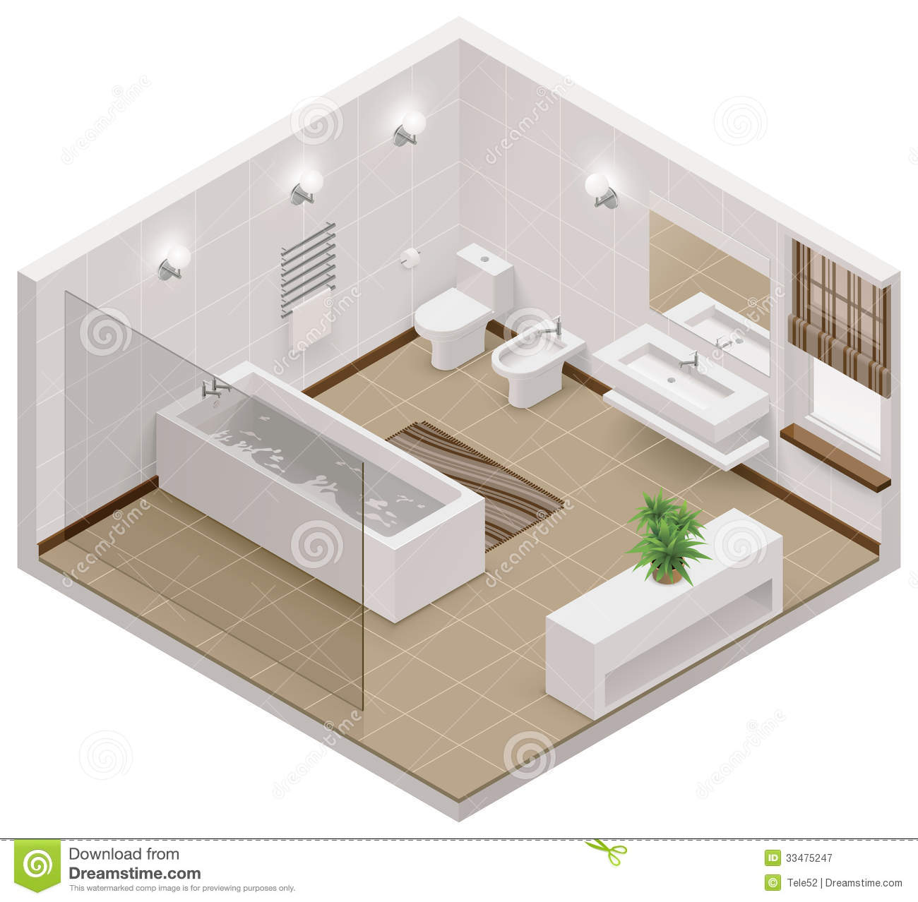 Homestyler Autodesk Vector Isometric Bathroom Icon Royalty Free Stock