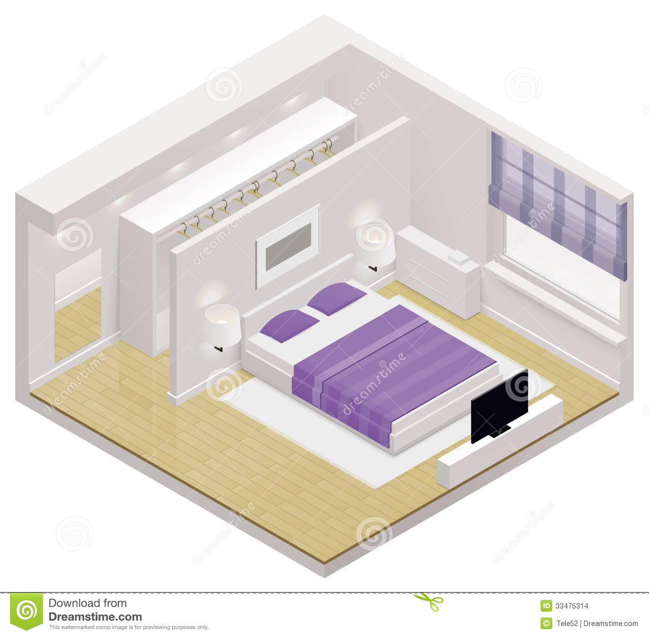 Vector Isometric Bedroom Icon Stock Images Image 33475314