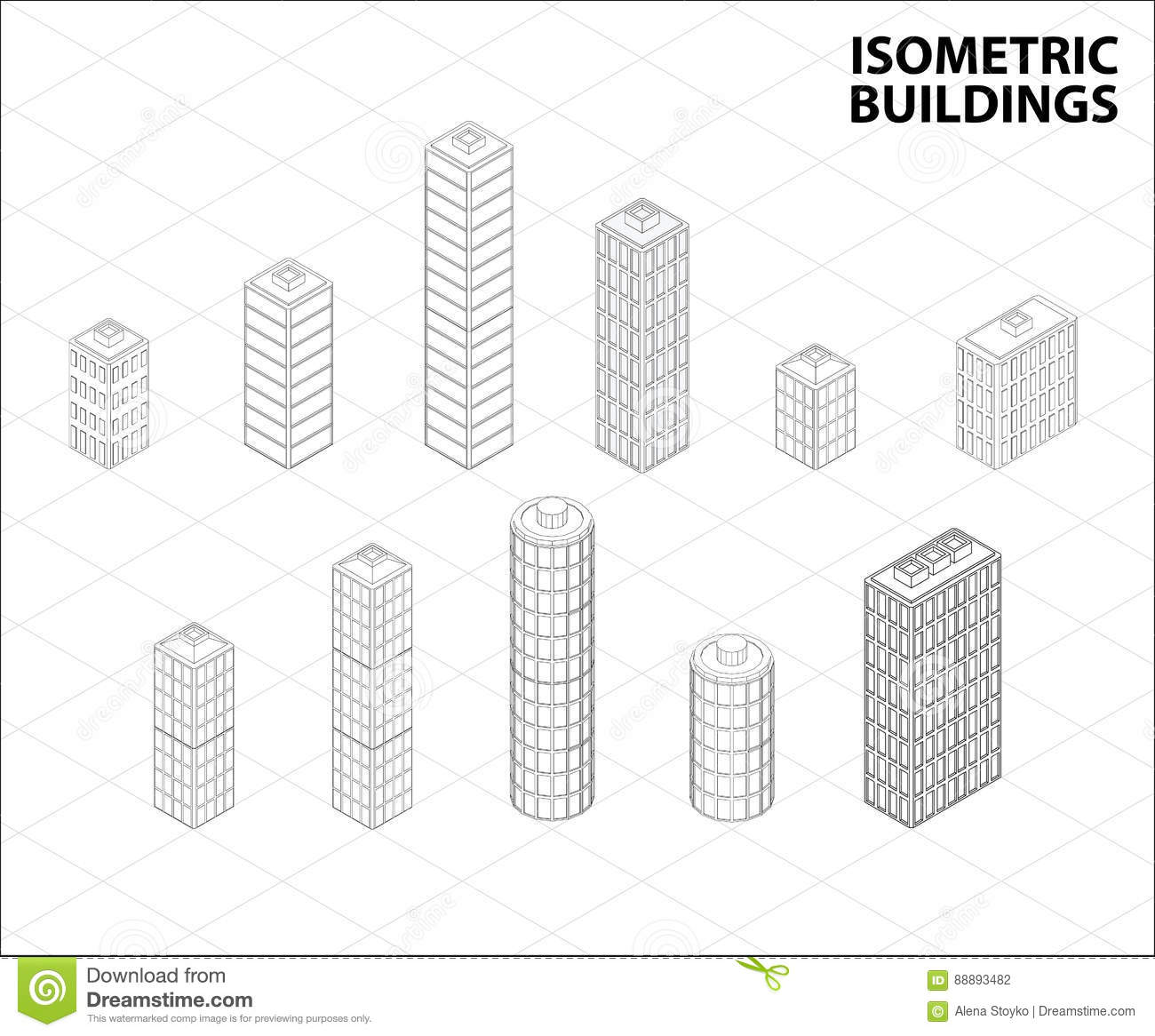 Vector Isometric Buildings Set. Stock Vector - Illustration of home ...