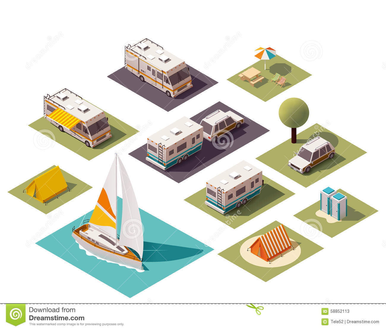 Isometric Traveling Camping Collection Vector Illustration ...