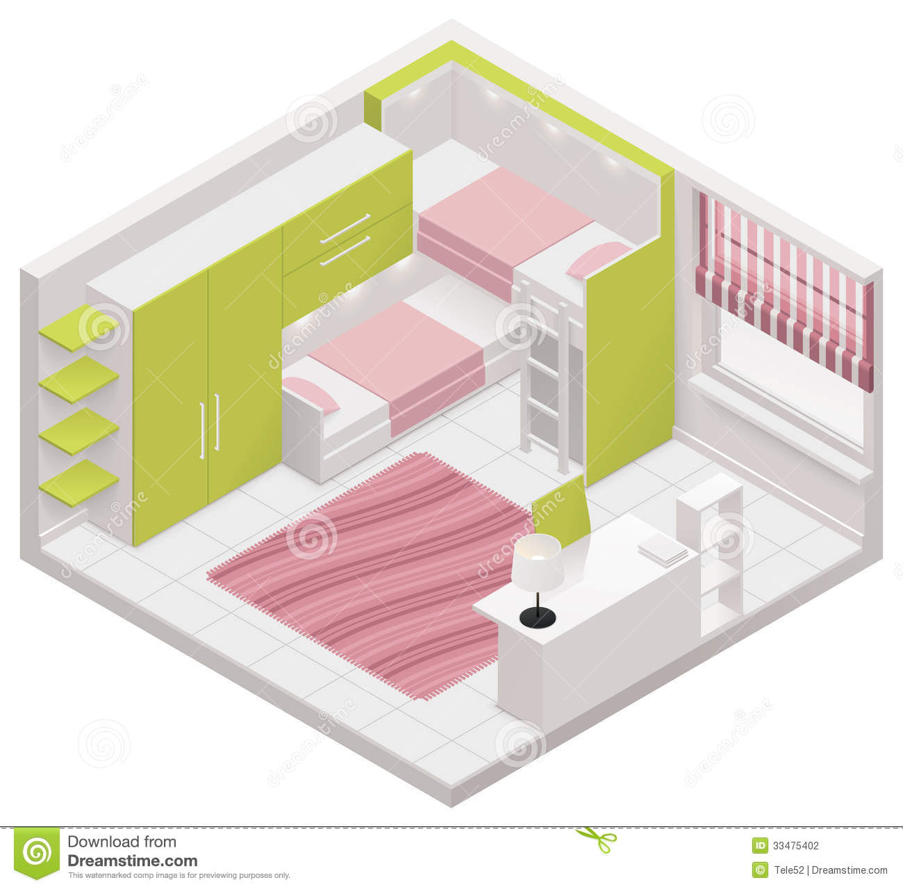 Stock Photography Vector Isometric Children Room Icon Detailed Representing Interior Image33475402 on Apartment 2 Bedroom House Plans