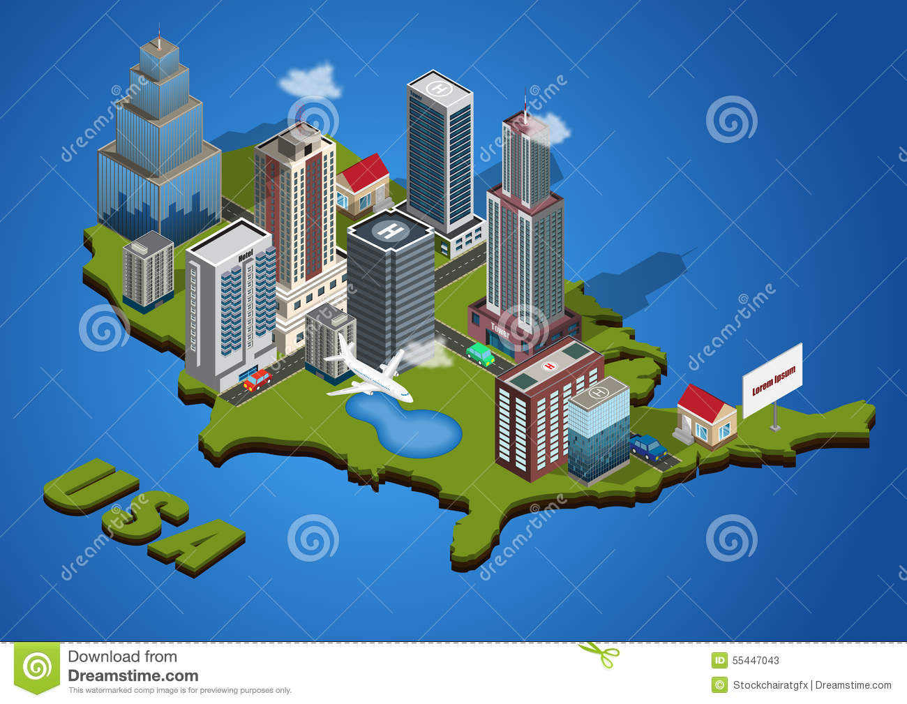 Vector isometric city stock vector Image of design house 55447043
