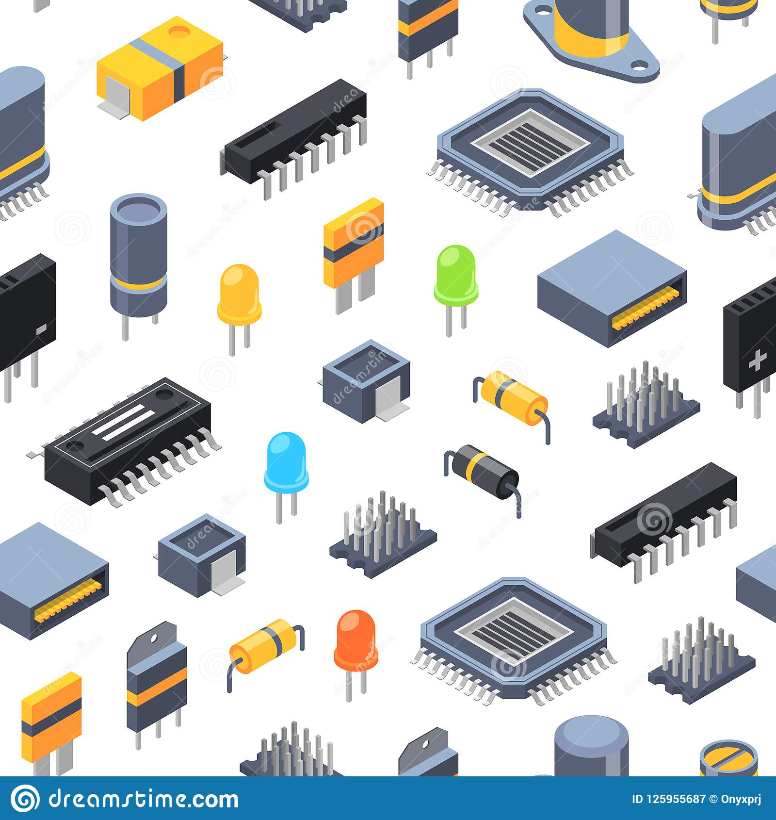 Vector isometric microchips and electronic parts icons pattern or background illustration